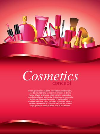 Cosmetics vertical vector background with devider Illustration
