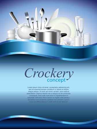 dinnerware: Crockery vertical vector background with devider