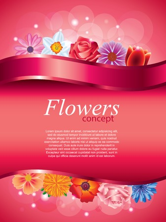 devider: Flowers vertical vector background with pink devider