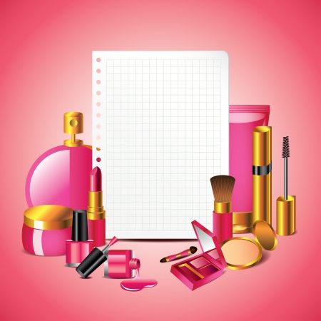 Cosmetics with blank sheet of paper on pink background in vector Stock Vector - 23200842