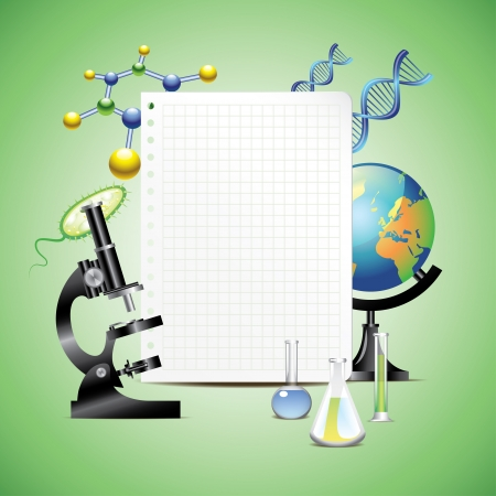 Scientific items with blank sheet of paper vector background Stock Vector - 23200843