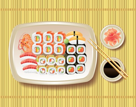 soy sauce: Japanese sushi, soy sauce and chopsticks on bamboo mat Illustration