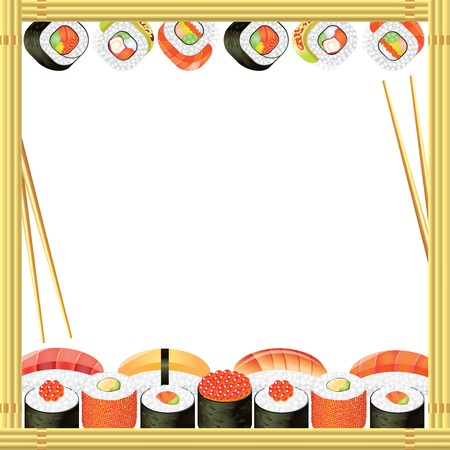 bamboo mat: Sushi frame with rolls, bamboo mat and chopsticks Illustration
