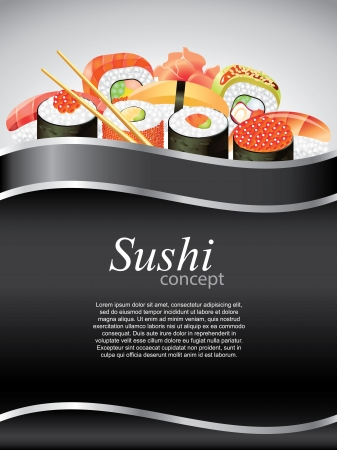 Japanese sushi on black vertical background with devider Vector