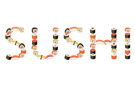 maki: Word sushi from rolls vector illustration