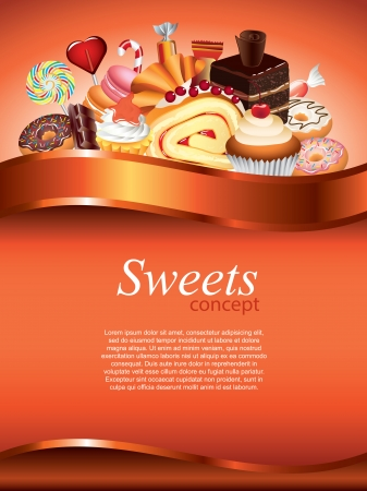 Cakes and candies, sweets vertical vector background with devider Vector