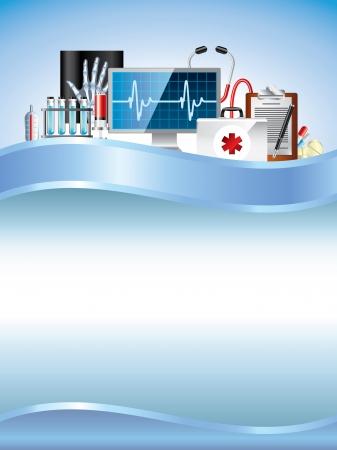 Matériel médical sur fond bleu vecteur vertical Banque d'images - 23660034