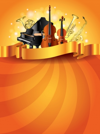 Classic musical instruments shiny golden vector background