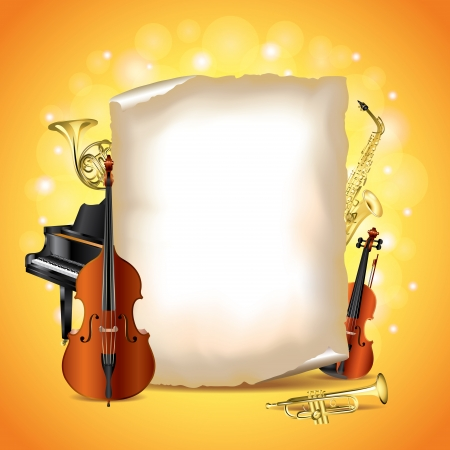 Classic musical instruments with blank paper vector background Ilustração
