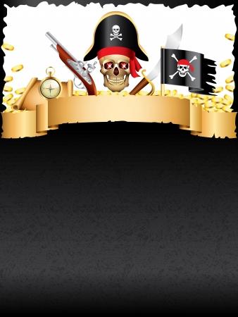 Piraten und Schätze Grunge vertikale Vektor Hintergrund
