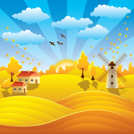Autumn rural landscape with houses, mill, fields and hills Vector