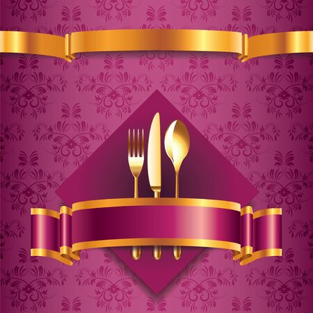 Luxury menu template for restaurant with golden cutlery Vector