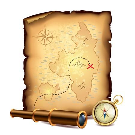 isla del tesoro: Piratas del mapa del tesoro con el catalejo y una brújula ilustración Vectores