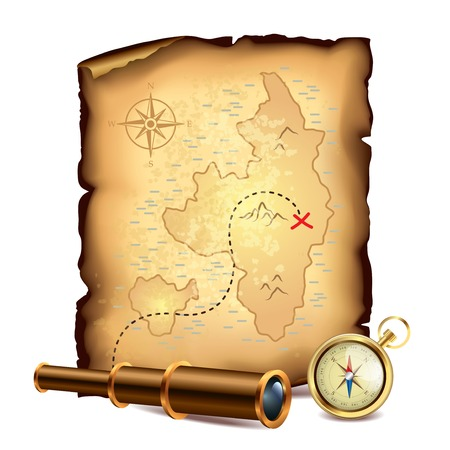 ancient map: Pirates treasure map with spyglass and compass illustration Illustration