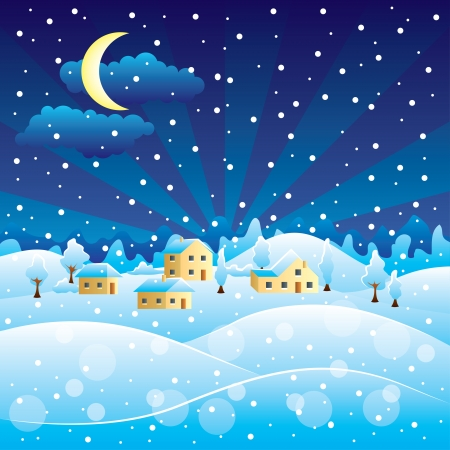 Winter landscape with night Christmas snowfall in village Vector