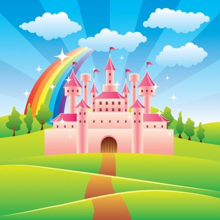 castillos de princesas: Castillo de cuento de hadas de la historieta colorida ilustración vectorial