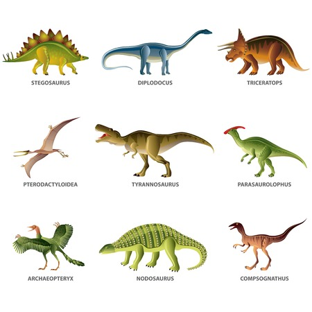 monstrous: Dinosaurs isolated on white colorful vector collection