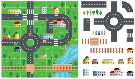 고속도로: City map toolkit with road, buildings and trees vector illustration