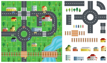 toolkit: City map toolkit with road, buildings and trees vector illustration