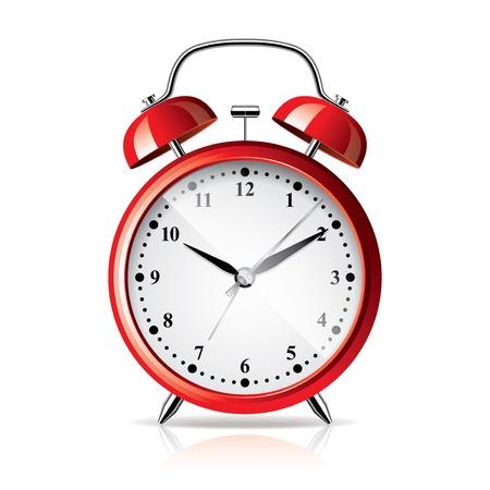 awaken: Red alarm clock isolated on white photo-realistic vector illustration