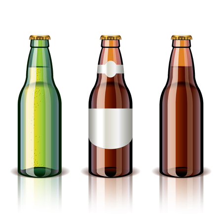 Beer bottle isolated on white photo-realistic vector illustration Vector