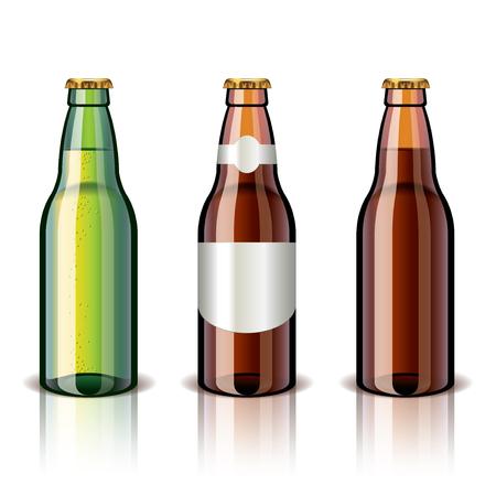 Bierfles die op wit foto-realistische vector illustratie