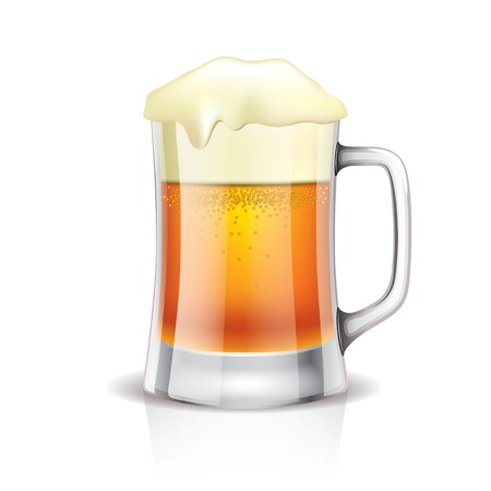 Beer mug isolated on white photo-realistic vector illustration