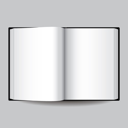 open diary: Black blank opened book isolated on grey vector illustration Illustration