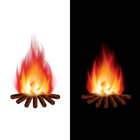 bonfire: Bonfire black and white background photo-realistic vector illustration Illustration