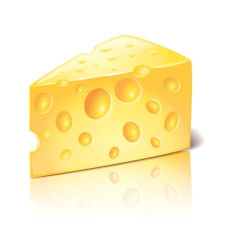 swiss cheese: Cheese isolated on white photo-realistic vector illustration