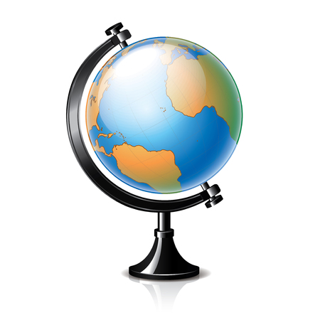environment geography: Globe isolated on white photo-realistic vector illustration