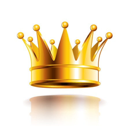 king and queen: Glossy golden crown isolated on white photo-realistic vector illustration