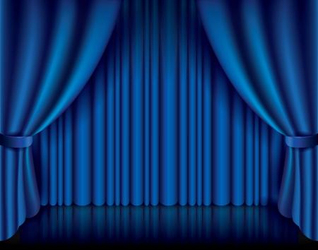 青いカーテン パフォーマンス背景写実的なベクトル イラスト