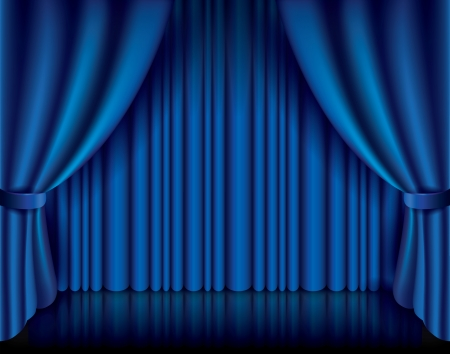 Blue curtain performance background photo-realistic vector illustration Imagens - 25413159
