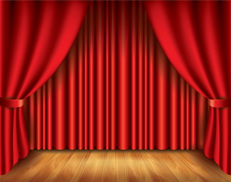 Red curtain performance background photo-realistic vector illustration Vector
