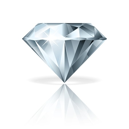 Diamond isolated on white photo-realistic vector illustration