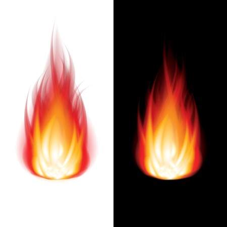 furnace: Fire icon black and white background photo-realistic vector illustration