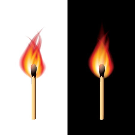 Burning match black and white background vector Vector