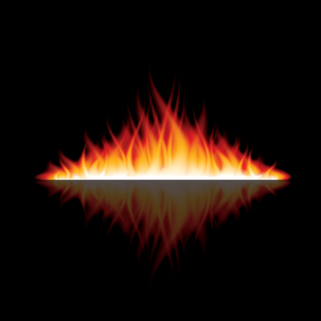 furnace: Burning fire with reflection on black background photo-realistic vector illustration