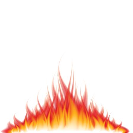 flames background: Burning fire isolated on white photo-realistic vector illustration Illustration