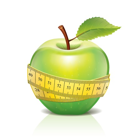 measuring tape: Green apple with measuring tape photo-realistic vector illustration