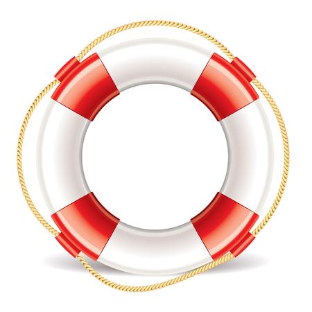 Lifebuoy isolated on white photo-realistic vector illustration