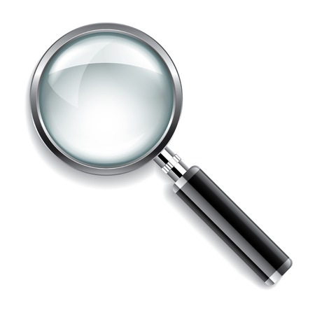 glass: Magnifying glass isolated on white photo-realistic vector illustration Illustration