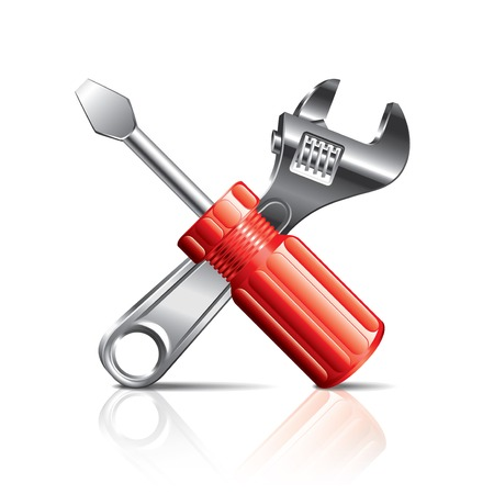 adjust: Screwdriver and wrench, tools icon photo-realistic vector illustration