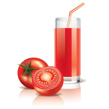 Tomato juice isolated on white photo-realistic vector illustration Vector