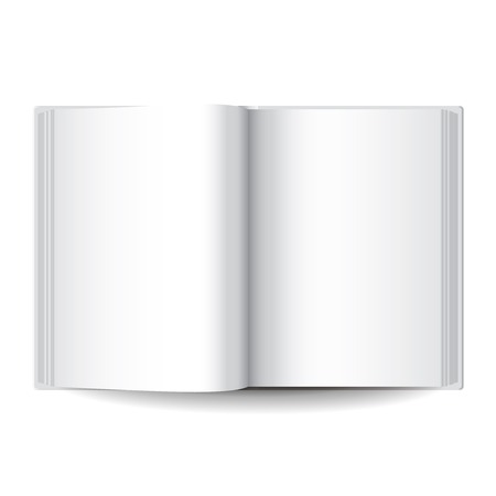 book isolated: White blank opened book isolated vector illustration
