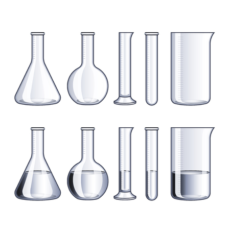 laboratory glass: Empty glass flasks and with water isolated on white vector illustration