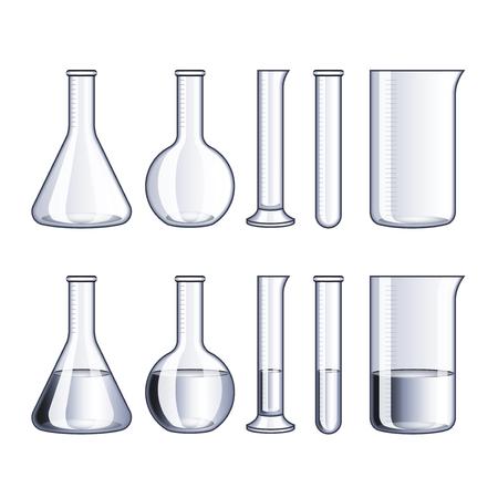 beaker: Frascos de vidrio vacía y con agua aislado en blanco ilustración vectorial