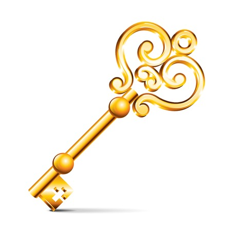 흰색 사실적인 벡터 일러스트 레이 션에 고립 된 황금 열쇠 일러스트