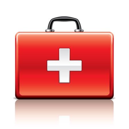 白の写実的なベクトル イラスト上に分離されて応急処置キット  イラスト・ベクター素材